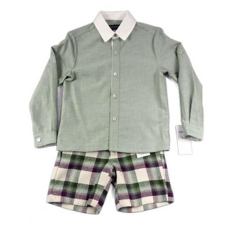 Conjunto niño pantalón corto cuadros verdes/morados y camisa verde