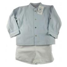 Conjunto camisa cuello mao verde agua rayas y pantalón lino blanco