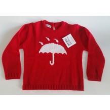 Jersey rojo con paraguas en blanco