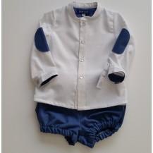 Conjunto culote azul y blusa blanca puntos y coderas