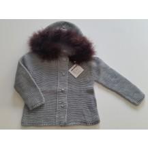 Abrigo / chaqueta gris capucha pelo color vison