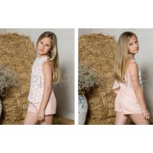 Conjunto short y blusa tull margaritas y lino rosa