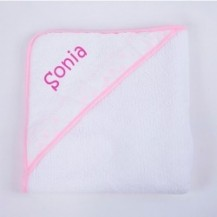 Capa de baño rosa personalizada