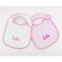 2 Baberos personalizados blanco - rosa +3M