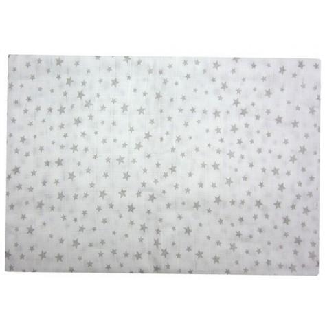Muselina estrellas blanca / gris