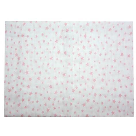 Muselina estrellas blanca / rosa