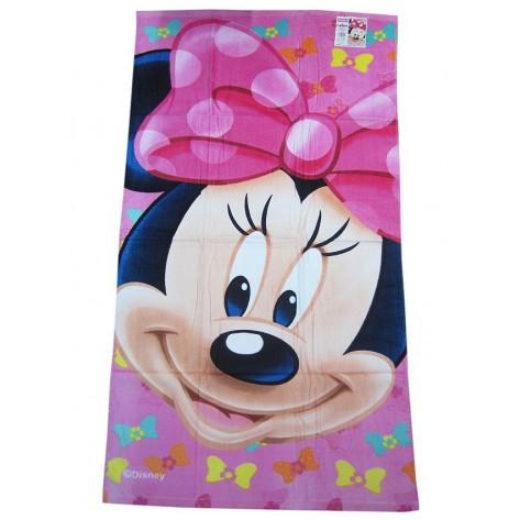 Toalla de baño Minnie rosa lazo