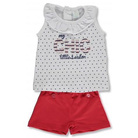 Conjunto pantalón corto rojo y camiseta blanca lunares marino