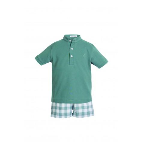 Conjunto pantalón corto vichy verde y polo