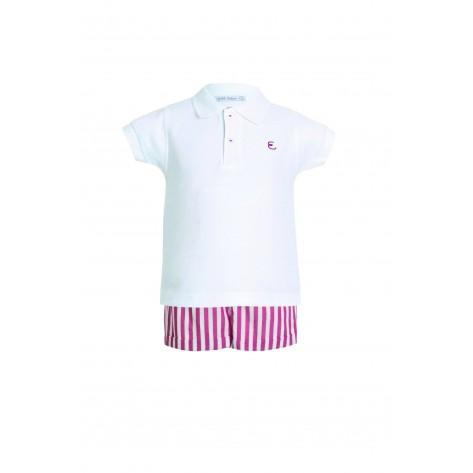 Conjunto pantalón corto rayas roja y blanca y polo blanco