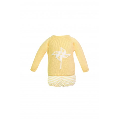 Conjunto bombacho rayas amarilla y blanca y jersey