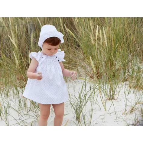Vestido blanco mini anclas marino y rojo (sin capota)