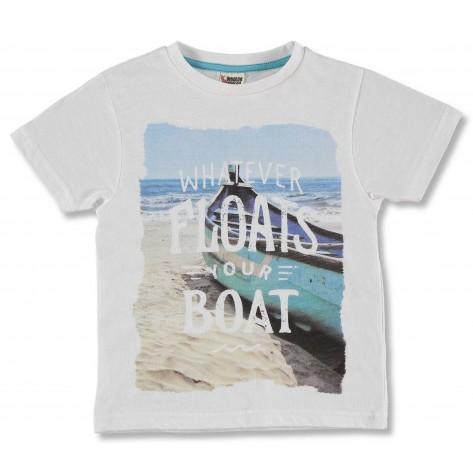 Camiseta manga corta blanca playa