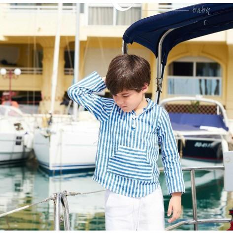 Camisa niño canguro rayas azulinas y capucha