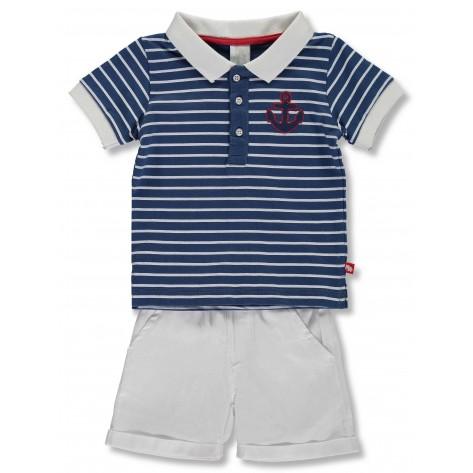 Conjunto pantalón corto blanco y polo marino rayas