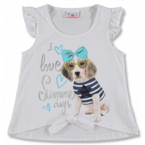 Camiseta manga corta blanca perro gafas