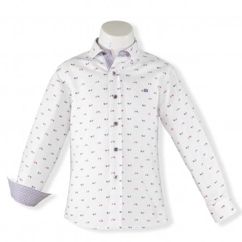 Camisa blanca vespas azul y granate