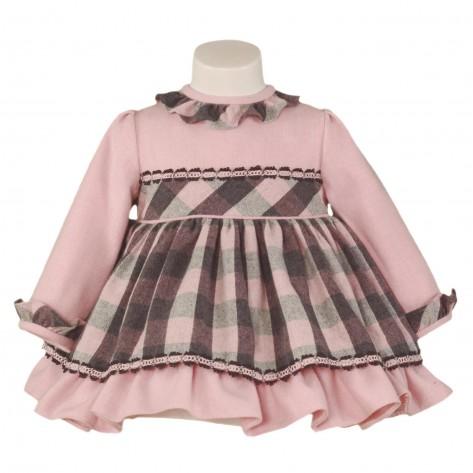 Vestido bebé cuadros rosas y gris