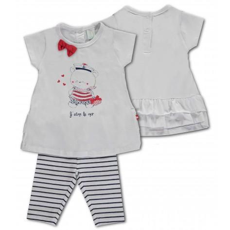 Conjunto leggins rayas marino y camiseta blanca lazo rojo