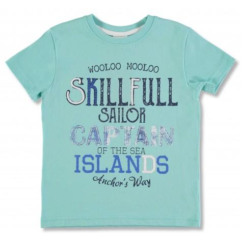 Camiseta manga corta azul turquesa