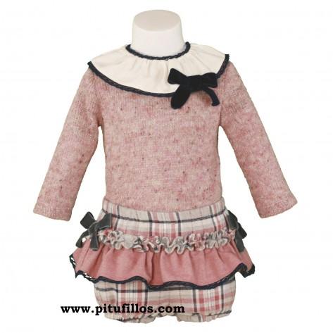 Conjunto pololo y jersey rosa palo y marino