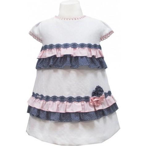 Vestido Infantil blanco, rosa y marino