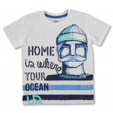 Camiseta manga corta blanca cara azul