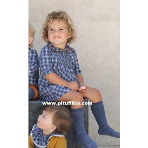 Vestido engomado escocés azul
