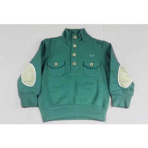 Sudadera niño verde con coderas