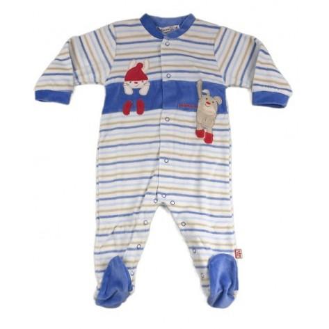 Pijama terciopelo niño azul rayas y dibujo rojo
