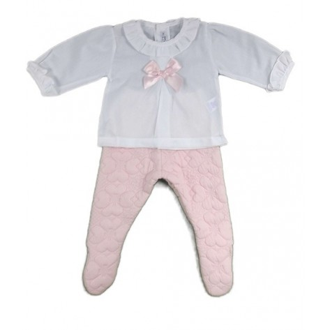 Conjunto blusa blanca + polaina rosa acolchada