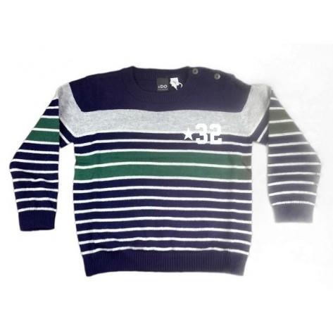 Jersey tricotosa cuello redondo azul/gris/verde