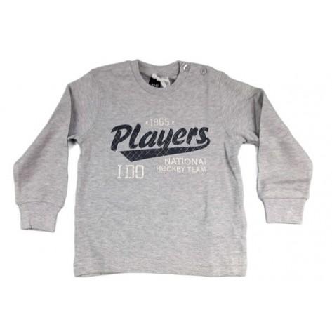 Camiseta algodón m/l cuello redonde gris claro