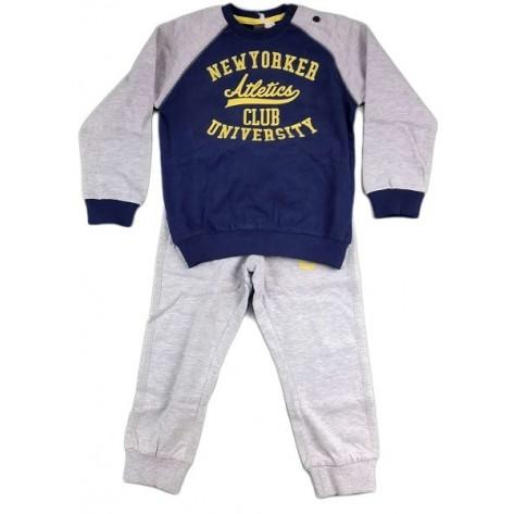Chándal niño algodón azul / gris / amarillo
