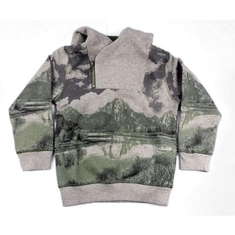 Sudadera niño gris / verde militar