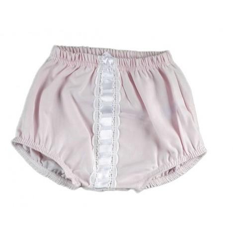 Pololo rosa con pasacintas blanca
