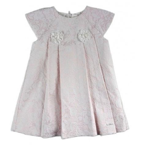 Vestido rosa palo con flores beige manga corta