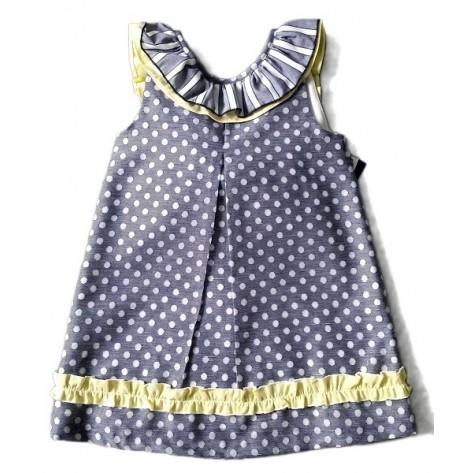 Vestido azul y amarillo espalda pico con lazo