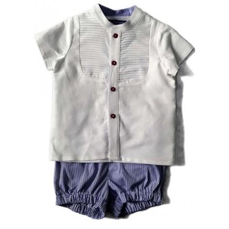 Conjunto pantalón rayas azul/blanco y blusa blanca m/c