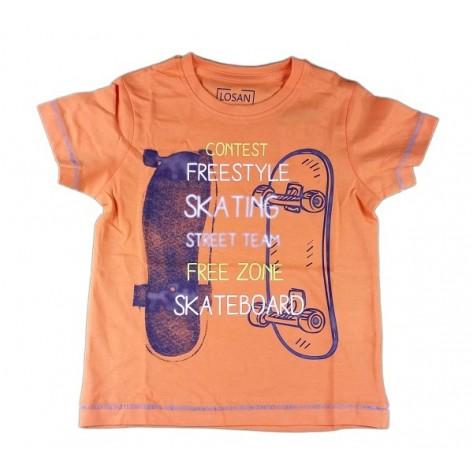 Camiseta manga corta naranja algodón
