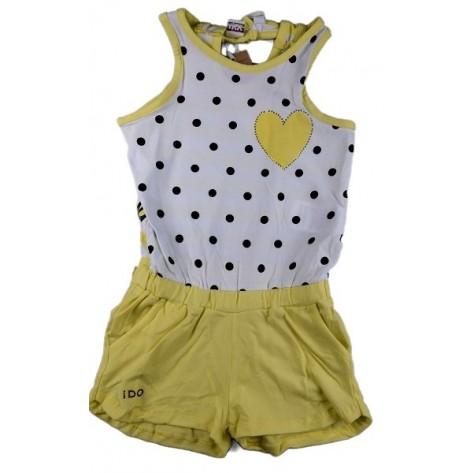 Mono pantalón amarillo lunares negros y corazón