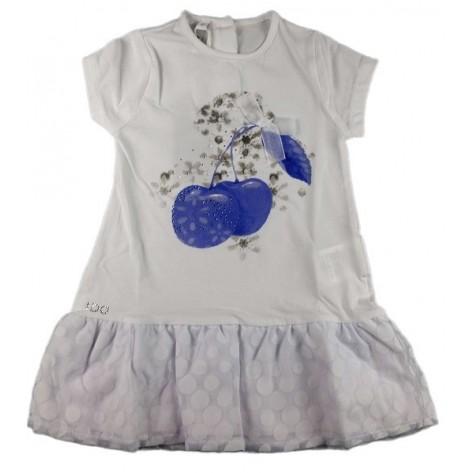 Vestido algodón blanco cerezas azul