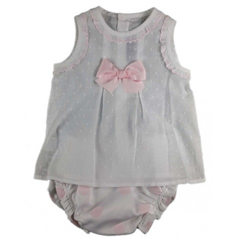 Conjunto braguita blanca lunares rosa y blusa plumeti