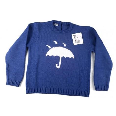 Jersey azulón con paraguas en blanco
