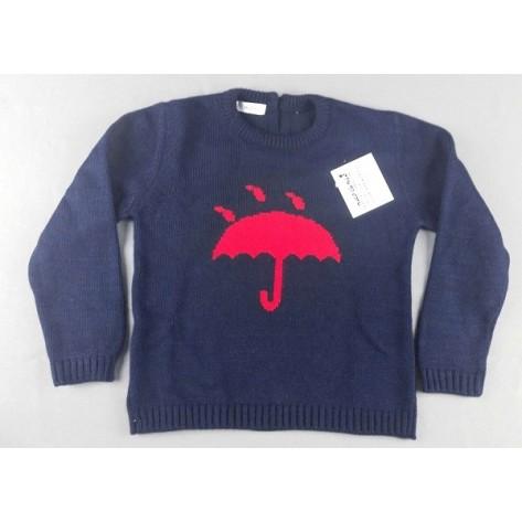 Jersey marino con paraguas rojo