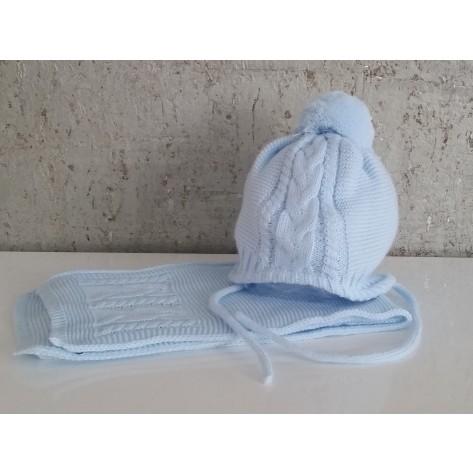 Conjunto gorro celeste con pompon y bufanda