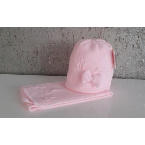 Conjunto gorro rosa sin pompon y lazo y bufanda