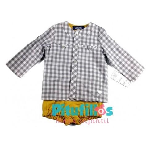 Conjunto niño culote mostaza y camisa cuadros grises