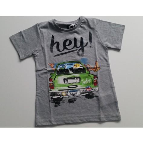 "Camiseta manga corta gris claro ""Hey"""