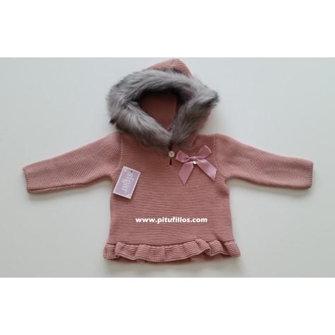 Jersey niña rosa palo con volante y capucha pelo